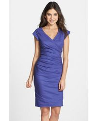 Nicole Miller - Blue Metallic Body-con Dress - Lyst