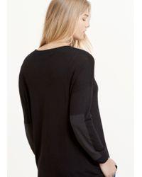 Violeta by Mango - Black Contrast Sleeve Sweater - Lyst