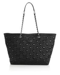 Tory Burch - Black Marion Small Quilted Tote - Lyst