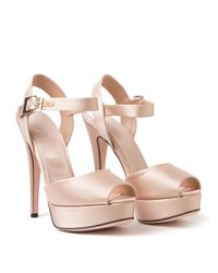 Giambattista Valli - Pink Satin Peeptoe Sandals - Lyst