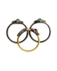 Amrapali | Metallic Set Of 3 Diamond, Emerald And Ruby Rings | Lyst