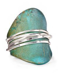 Robert Lee Morris - Green Shiny Silver Ring - Lyst