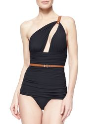 Michael Kors | Black Belted Ruched One-Piece Swimsuit | Lyst