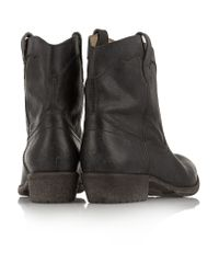 Frye - Black Carson Textured-leather Boots - Lyst
