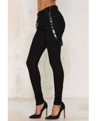 Nasty Gal | Black Courtshop James Leather Suspender Jeans | Lyst