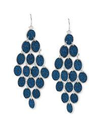 Steve Madden - Silvertone Blue Glitter Oval Chandelier Earrings - Lyst