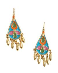 Ben-Amun - Metallic Gold And Blue Enamel 'Amazon' Earrings - Lyst