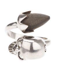 Alexander McQueen - Metallic Acorn Twin Skull Ring - Lyst