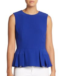 Alexander McQueen - Blue Sleeveless Peplum Top - Lyst