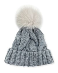 Loro Piana - Gray Cable-knit Fur Pom-pom Hat - Lyst