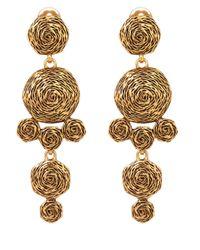 Oscar de la Renta - Metallic Gold-Tone Swirl Drop Earrings - Lyst