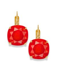 kate spade new york - New York Earrings Goldtone Red Small Stone Leverback Earrings - Lyst