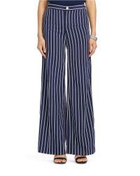 Lauren by Ralph Lauren - Blue Petite Striped Wide-leg Pant - Lyst