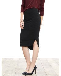 Banana Republic | Black Textured High/low Pencil Skirt | Lyst