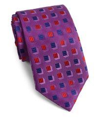 Charvet - Purple Shadow Boxes Silk Tie for Men - Lyst