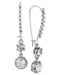 Betsey Johnson | Metallic Crystal Long Drop Earrings | Lyst