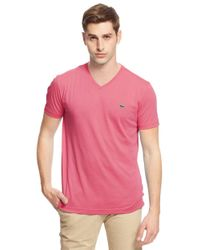 Lacoste - Pink V-neck Cotton Tee for Men - Lyst