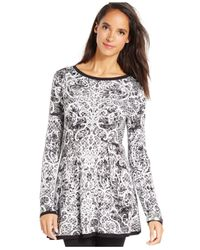 Style & Co. | White Printed Jacquard Sweater Tunic | Lyst