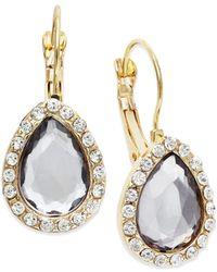 INC International Concepts | Metallic Gold-tone Black Diamond Teardrop Leverback Earrings | Lyst