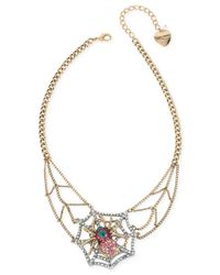 Betsey Johnson | Metallic Gold-tone Pavé Crystal Spider Web Collar Necklace | Lyst