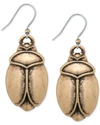 Lucky Brand | Metallic Gold-tone Scarab Drop Earrings | Lyst