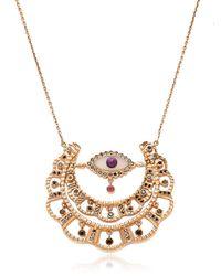 Bliss Rose - Metallic Moon Talisman Agate Necklace - Lyst