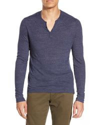 One Bxwd - Blue Long Sleeve Henley for Men - Lyst