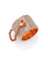 Eddie Borgo - Pink Pavé Crystal Safety Chain Ring - Lyst