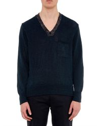 Inis Meáin - Blue Donegal-Trim Linen Sweater for Men - Lyst