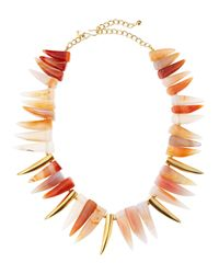 Kenneth Jay Lane | Multicolor Agate Tooth Necklace | Lyst