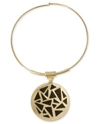 Robert Lee Morris - Metallic Gold-Tone Leather Geometric Cutout Pendant Collar Necklace - Lyst