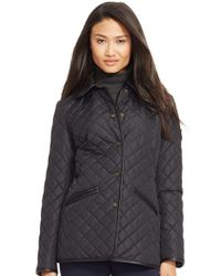 Lauren by Ralph Lauren - Black Faux Leather & Shearling Trim Quilted Jacket - Lyst