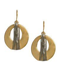 Kenneth Cole | Metallic Goldtone Wire Wrapped Oval Drop Earrings | Lyst