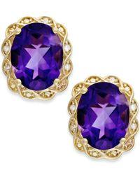 Macy's | Purple Amethyst (3-1/2 Ct. T.w.) And Diamond Accent Stud Earrings In 14k Gold | Lyst