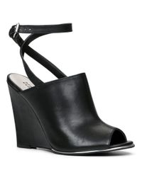 Lord & Taylor | Black Yehocheva Peep-toe Leather Wedges | Lyst