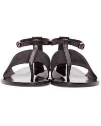f20637cb8fe Burberry Black Leather & Suede Adelaide Sandals in Black - Lyst