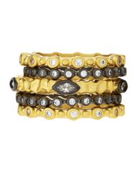 Freida Rothman | Metallic Bezel-set Cz Stackable Rings Set | Lyst