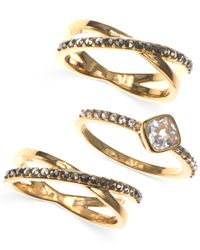 Judith Jack | Metallic Gold-tone Crystal And Marcasite Three Ring Set | Lyst