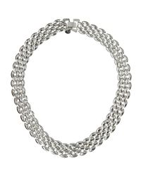 Lydell NYC | Metallic Shiny Silvertone Collar Necklace | Lyst