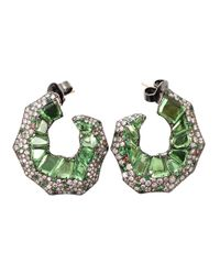 Arunashi | Black Tsavorite And Diamond Edge Hoop Earrings | Lyst