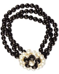 Macy's Cultured Freshwater Pearl (3.5-6mm) And Black Onyx (100 Ct. T.w.) 3 Row Flower Bracelet In 14k Gold-plated Sterling Silver