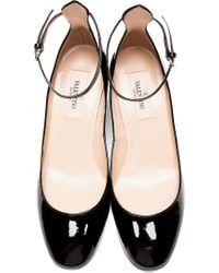 Valentino - Black Patent Ankle Strap Mary Janes - Lyst
