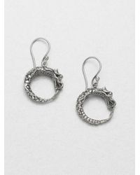 John Hardy | Metallic Naga Sterling Silver Dragon Drop Hoop Earrings | Lyst