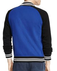 Polo Ralph Lauren | Blue Fleece Baseball Jacket for Men | Lyst