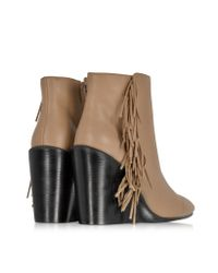 See By Chloé | Brown Rex Biscuit Leather Wedge Ankle Bootie W/fringe | Lyst