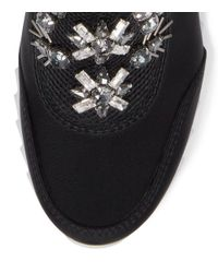 Tory Burch - Black Rosas Embellished Sawtooth Slip-on Sneaker - Lyst