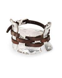 Uno De 50 | Metallic Silver And Leather Cuff Bracelet | Lyst