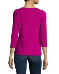 d0bf9441b6ae Lyst - Neiman Marcus Cashmere Boat-neck Sweater in Purple