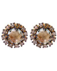 Suzanne Kalan - Metallic Gold Amethyst Centre Diamond Stud Earrings - Lyst