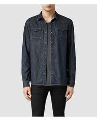 AllSaints | Blue Choko Western Shirt for Men | Lyst